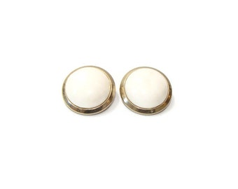 Vintage Cream Button Gold Detail Clip On Earrings