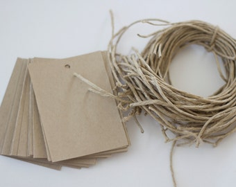 Kraft Tags and Twine for Custom Stamps and Favor Tags 2.5 x 3.5 Set of 25