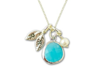 Bridesmaid Gift - Mother Necklace Personalized Initial Leaf Gold Aqua Blue Bezel