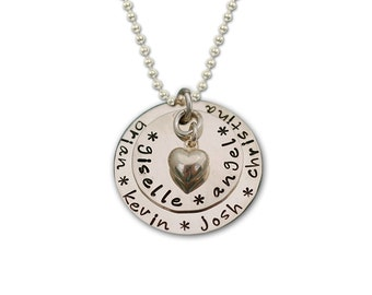 "Hand Stamped Mother Layered Personalized Necklace...""Wrapped Around My Heart"""