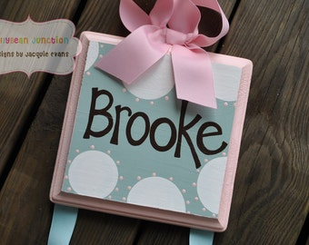 HairBow Holder - SIMPLICITY Design - Handpainted and Personalized Bow Holder - Pink and Blue Nursery - Personalized Bow Organizer