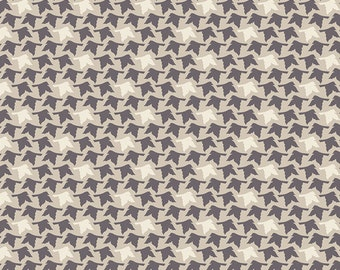 Two Tone Grey Butterfly Shadow Fabric, Winged by Bonnie Christine for Art Gallery Fabrics, Feathered Flight in Acorn, 1 Yard