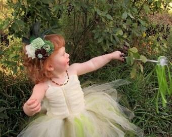 Fairy tutu dress, enchanted, tutu dress, tutu, flower girl, ivory green fairy, girls clothing, kids costume, childrens tutu, birthday tutu