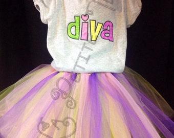 diva shirt, girls shirt, girls tutu, girls clothing, clothing, tutu, shirt, toddler tutu, photo prop, birthday set, birthday tutu, embroider