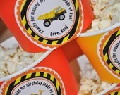 24 Construction Birthday Stickers - Party Favor Stickers - Construction Birthday Decorations - Dump Truck Party