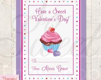 PRINTABLE - Kids Valentine's Day Cards - Cupcake - DIY Printable Valentine Cards - Digital File