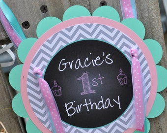 1st Birthday Door Sign - Girls 1st Birthday Decorations - Chalkboard with Gray Chevron - Pink & Mint Green