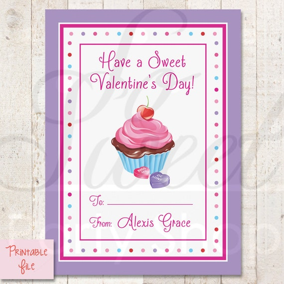 PRINTABLE Kids Valentines Day Cards Cupcake DIY Printable – Printable Valentine Card for Kids