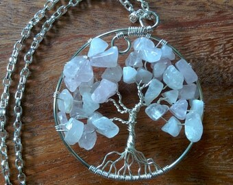 Rose Quartz and Silver Plate Tree of Life Pendant (with chain)