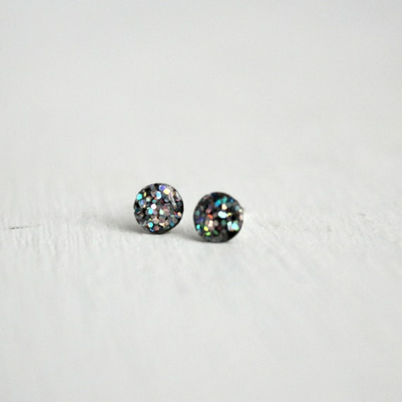 super tiny circle glitter post earrings in iridescent silver - glitter earrings round post earrings