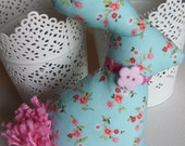 Spring Easter Bunny Rabbit Aqua Blue Pink Flowers Decor Softie