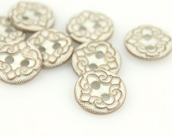 Metal Buttons - Floral Scroll Metal Buttons , Copper White Color , 2 Holes , 0.43 inch , 10 pcs