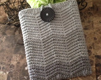 Crochet iPad  case, crochet case for iPad, grey color with a black button READY to ship