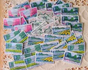 Plant for More 50 Vintage Flowers US Postage Stamps Cherry Blossom Plants Garden Washington DC Horticulture Floral Scrapbooking Spring Grow