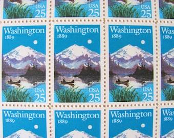 Washington Statehood 50 UNused Vintage US Postage Stamps Full Sheet 25 cents 1989 Seattle WA Valentine's Save the Date Wedding Postage Canoe