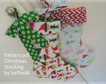 Christmas Stocking PATTERN, Super Simple, Tutorial with Photos, pdf