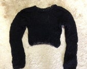 Mohair sweater top by camdenlock clothing unisex hand knit black lime green pink
