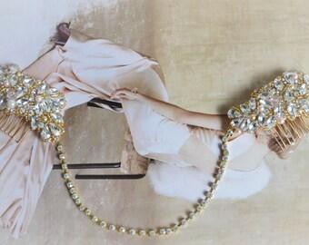 AUGUST SALE Bridal Gold and Blush headband,Gold and blush halo 1920s bridal headpiece,One of a Kind heirloom blush boho headband