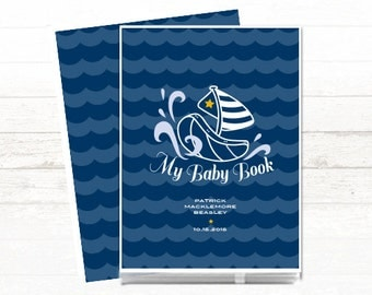 Modern Baby Book // Nautical Baby Book // Personalized Baby Book // Baby Memory Book // Navy // Nautical // Boat