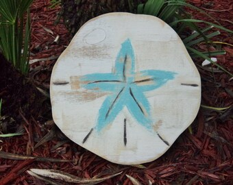Small Sand Dollar, Beach House Style, Tropical Decor, Mantle Display, Weathered Wood Wall Art,