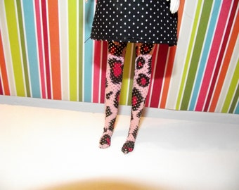 Pink animal print cheetah with silver sequins tights leggins for DAL doll