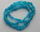 Quartz Gemstone Chip Beads - 4 to 7mm Stone, Blue Color, Rectangular Smoothed Shapes, Full Double Strand, 32 Inch