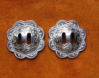 Stainless steel engraved floral slotted conchos for bridles, saddle bags, chaps and more!