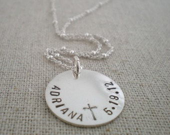 Baptism necklace, communion gift, hand stamped sterling silver necklace, faith jewelry, Christian necklace, cross necklace