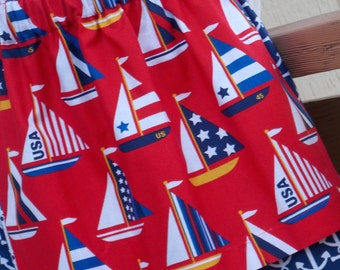 Buy Any 2 Skirts and Get 1 FREE, Sailboats and Anchors Apron Skirt, Size 2, 3, 4, 5, 6, 7, 8, 9, 10, and 12