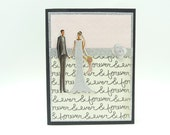 Classy Glitter Wedding Card, Bride and Groom Card, Pink and Grey Wedding Card, Handmade Wedding Greeting Card