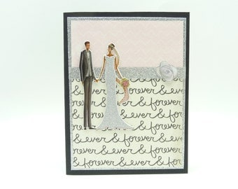 Classy Glitter Wedding Card, Bride and Groom Card, Pink and Grey Wedding Card, Handmade Wedding Greeting Card