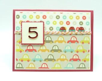 Boy's 5th Birthday Card, Boy's Happy Birthday Car Greeting Card, Boy's Red Car Birthday Card, Handmade Paper Greeting Card