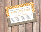 Chevron Orange and Gray Printable Stock the Library Enclosures Bring a Book Cards - INSTANT DOWNLOAD