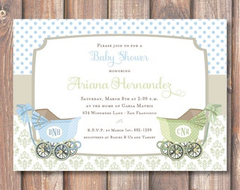 Elegant Old Fashioned Twin Boys Printable Invitation Vintage Light Blue and Sage Green Carriages Twins Prams Baby Shower Baby Boys