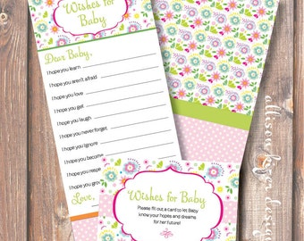 Printable Baby Shower Game Baby Wishes Baby Girl Bright Floral Garden Printable Wishes for Baby Game Pink and Green - INSTANT DOWLOAD