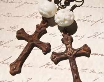 Rusty Crucifix and Bone Earrings