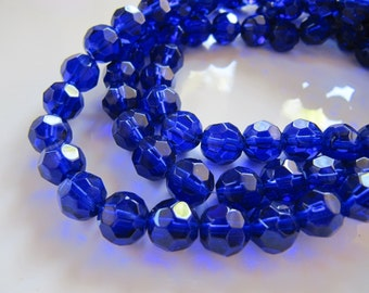 8mm Faceted GLASS Beads in Sapphire Blue, Round, 1 Strand, 38 Pieces, Clear Glass Beads in Dark Blue