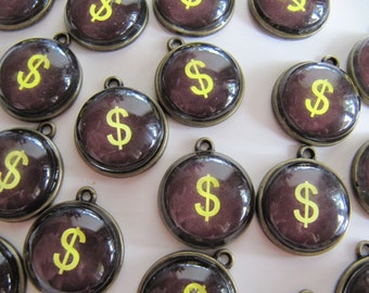 Dollar CHARM Typewriter Key Style, Sign Pendant with Resin Magnifying Dome, Brass Tone Bezel, 20mm, Brown, Yellow, 1 Piece