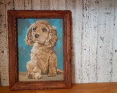 Vintage Paint By Numbers // Puppy // Cocker Spaniel // Dog Painting