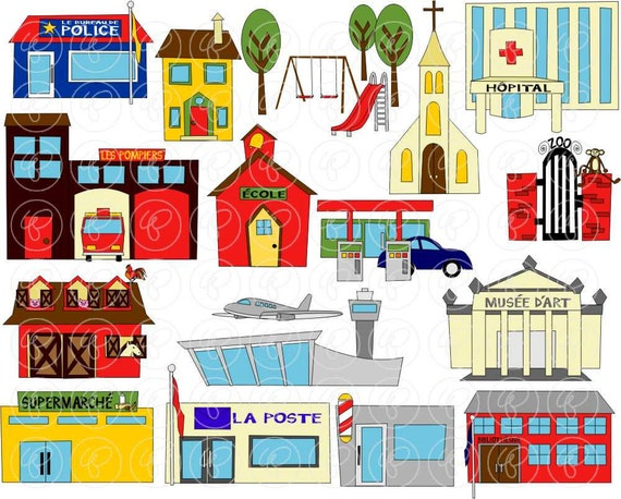Our Teacher Asked What My Favorite Animal Was: My Community Buildings In FRENCH Clipart: 300 Dpi By