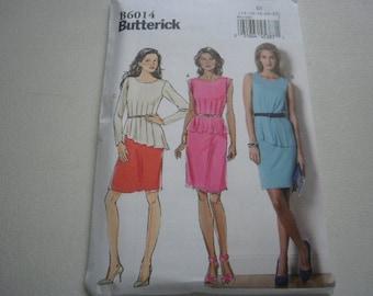 Pattern Women Dress 3 Styles Sizes 14 to 22 Butterick 6014 A