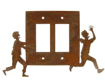 Zombie Chasing Victim Decorative Lightswitch - Double Switch