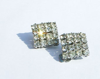 60's Clip On Earrings - sparkly rhinestones