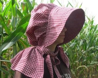 Bonnet - burgundy plaid homespun fabric - 100% cotton - neck shade