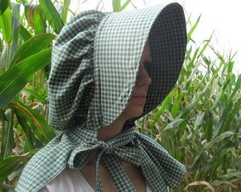 Bonnet - green plaid homespun fabric - 100% cotton - neck shade