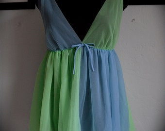 SALE 60's Slip Two Tone Blue and Green Empire Waist Sheer Mini Dress or Top