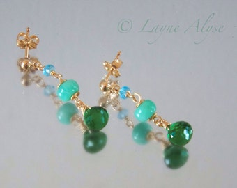 Magically delicious earrings in Blue Topaz, Amazonite, and vivid green Quartz