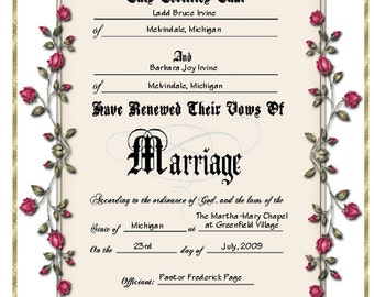 Keepsake Vow Renewal Certificate - Personalized or Blank