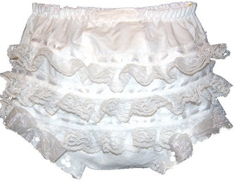 White Lace, Ribbon and Ruffles Baby Girl  Bloomers, Diaper Cover