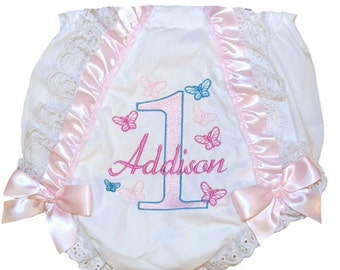Personalized Birthday Baby Girl Diaper Cover Bloomers Ruffles, Lace & Butterflies Double Bows Free Shipping